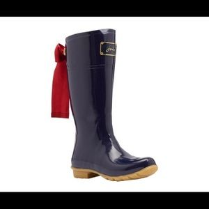Brand New Joules Evedon Rainboots Navy Blue/Red